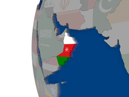 embedded: Map of Oman with embedded national flag. 3D illustration