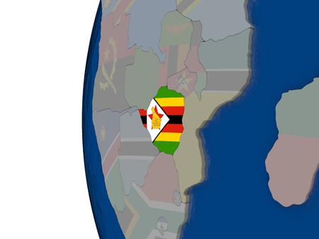zimbabwe: Map of Zimbabwe with embedded national flag. 3D illustration