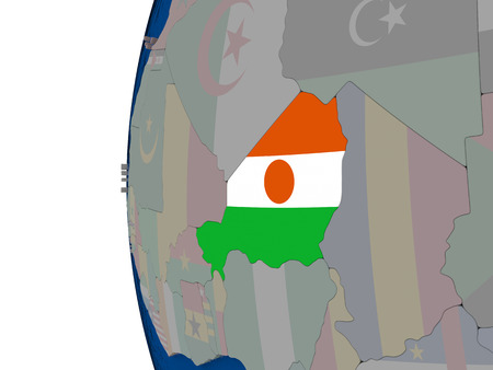 embedded: Map of Niger with embedded national flag. 3D illustration Stock Photo