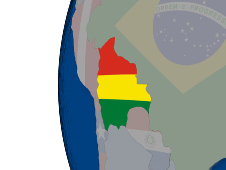 mapa de bolivia: Map of Bolivia with embedded national flag. 3D illustration