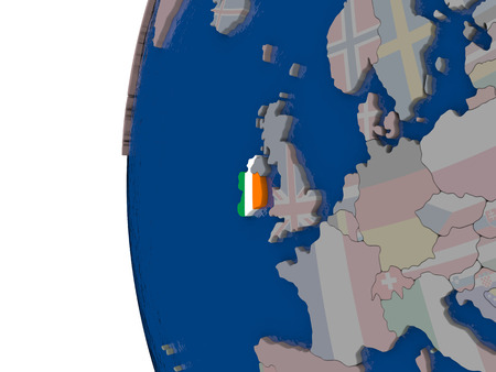 embedded: Map of Ireland with embedded national flag. 3D illustration