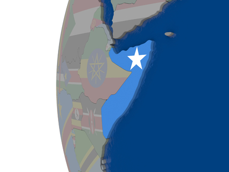 embedded: Map of Somalia with embedded national flag. 3D illustration Stock Photo