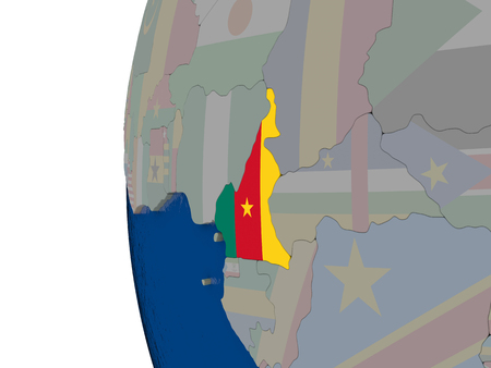 embedded: Map of Cameroon with embedded national flag. 3D illustration