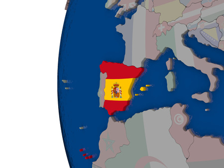 spaniard: Map of Spain with embedded national flag. 3D illustration