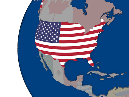 embedded: Map of USA with embedded national flag. 3D illustration