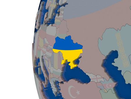 embedded: Map of Ukraine with embedded national flag. 3D illustration Stock Photo