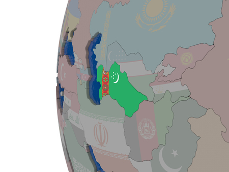 embedded: Map of Turkmenistan with embedded national flag. 3D illustration