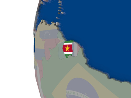 embedded: Map of Suriname with embedded national flag. 3D illustration Stock Photo