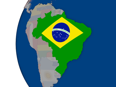 embedded: Map of Brazil with embedded national flag. 3D illustration