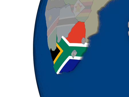 embedded: Map of South Africa with embedded national flag. 3D illustration Stock Photo