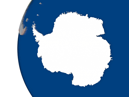 embedded: Map of Antarctica with embedded national flag. 3D illustration Stock Photo