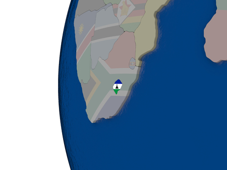 embedded: Map of Lesotho with embedded national flag. 3D illustration