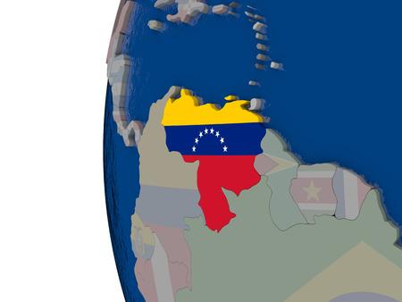 mapa de venezuela: Map of Venezuela with embedded national flag. 3D illustration