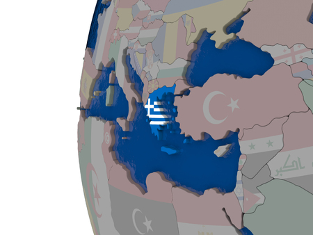 embedded: Map of Greece with embedded national flag. 3D illustration Stock Photo
