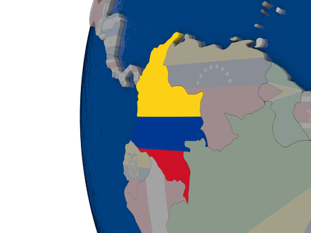 republic of colombia: Map of Colombia with embedded national flag. 3D illustration