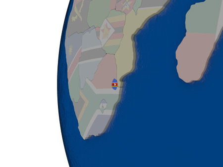 embedded: Map of Swaziland with embedded national flag. 3D illustration