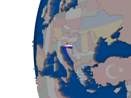 embedded: Map of Croatia with embedded national flag. 3D illustration