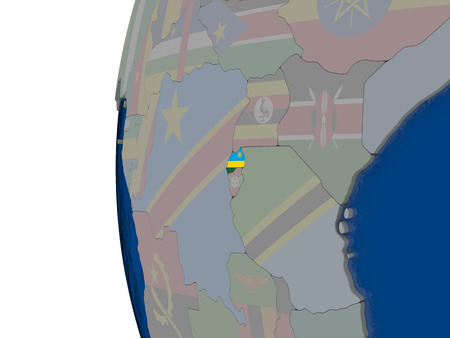 embedded: Map of Rwanda with embedded national flag. 3D illustration