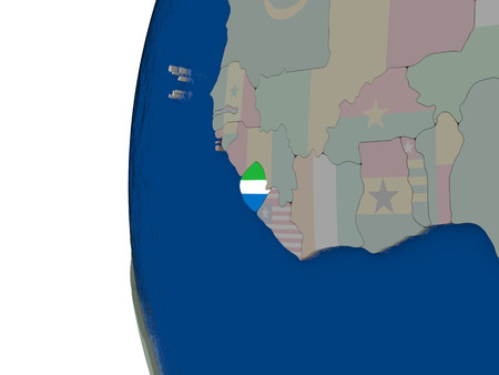embedded: Map of Sierra Leone with embedded national flag. 3D illustration