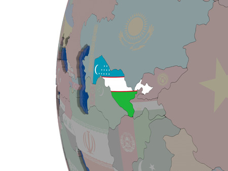 embedded: Map of Uzbekistan with embedded national flag. 3D illustration Stock Photo