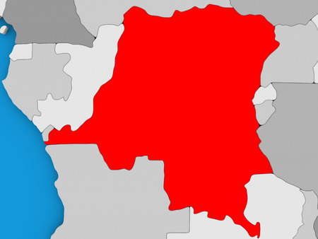 democratic: Map of Democratic Republic of Congo on globe highlighted in red. 3D illustration Stock Photo