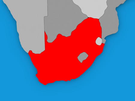 Map of south africa highlighted in red on simple globe 3d map of south africa on globe highlighted in red 3d illustration photo gumiabroncs Choice Image