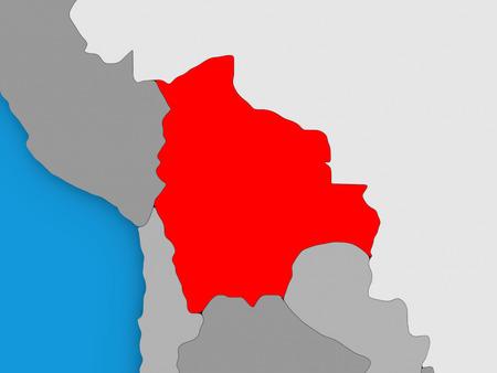 mapa de bolivia: Map of Bolivia on globe highlighted in red. 3D illustration Foto de archivo
