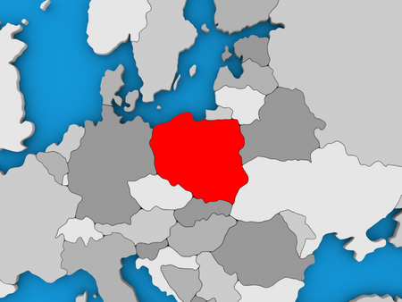 Map of Poland on globe highlighted in red. 3D illustration