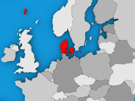 Map of Denmark on globe highlighted in red. 3D illustration Stock Photo