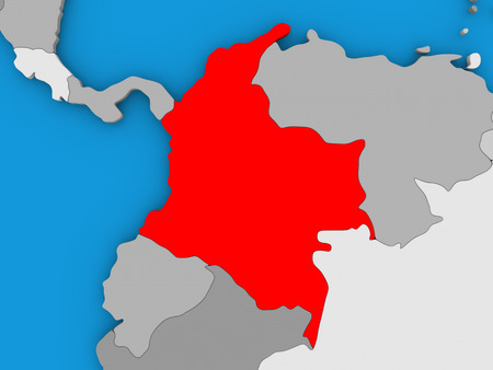 republic of colombia: Map of Colombia on globe highlighted in red. 3D illustration