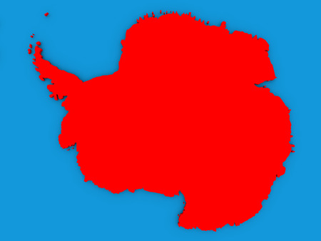antarctica: Map of Antarctica on globe highlighted in red. 3D illustration