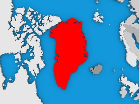 greenlandic: Map of Greenland on globe highlighted in red. 3D illustration Stock Photo