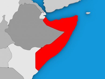 Map of Somalia on globe highlighted in red. 3D illustration