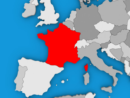 republique: Map of France on globe highlighted in red. 3D illustration