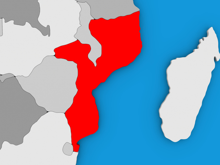 Map of Mozambique on globe highlighted in red. 3D illustration
