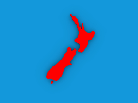 aotearoa: Map of New Zealand on globe highlighted in red. 3D illustration Stock Photo