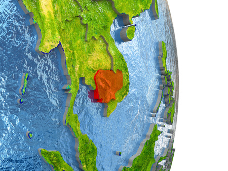 Cambodia in red with surrounding region. 3D illustration with highly detailed realistic planet surface.