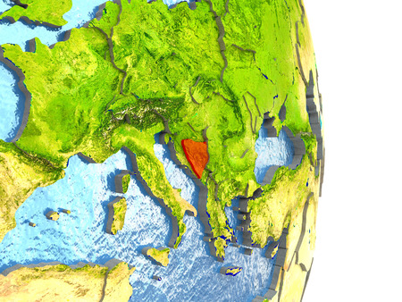 Bosnia in red with surrounding region. 3D illustration with highly detailed realistic planet surface.