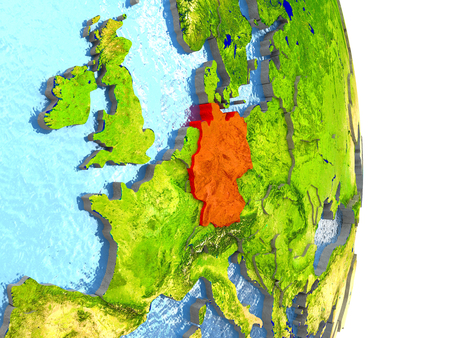 Germany in red with surrounding region. 3D illustration with highly detailed realistic planet surface.