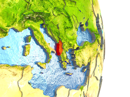 physical geography: Albania in red with surrounding region. 3D illustration with highly detailed realistic planet surface.