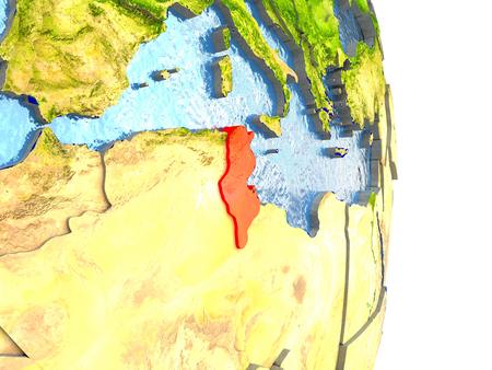 Tunisia in red with surrounding region. 3D illustration with highly detailed realistic planet surface. Stock Photo