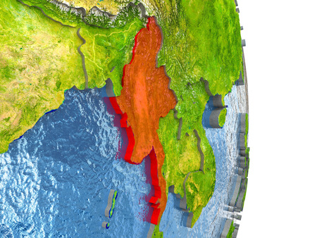 burmese: Myanmar in red with surrounding region. 3D illustration with highly detailed realistic planet surface.