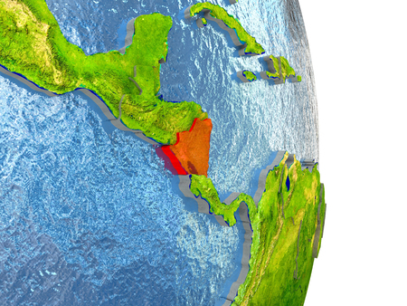 nicaragua: Nicaragua in red with surrounding region. 3D illustration with highly detailed realistic planet surface.