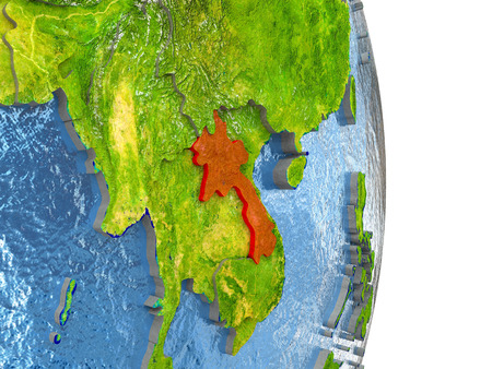 Laos in red with surrounding region. 3D illustration with highly detailed realistic planet surface.