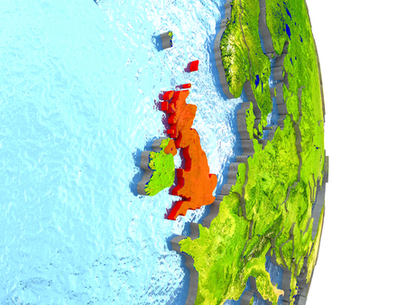 United Kingdom in red with surrounding region. 3D illustration with highly detailed realistic planet surface. Stock Photo