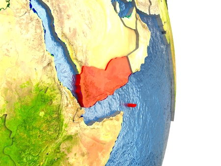 Yemen in red with surrounding region. 3D illustration with highly detailed realistic planet surface. Stock Photo