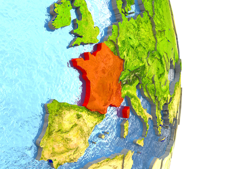 republique: France in red with surrounding region. 3D illustration with highly detailed realistic planet surface. Stock Photo