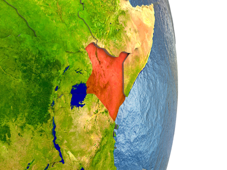 Kenya in red with surrounding region. 3D illustration with highly detailed realistic planet surface.