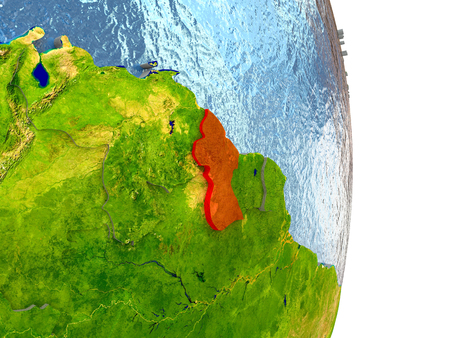 Guyana in red with surrounding region. 3D illustration with highly detailed realistic planet surface. Stock Photo