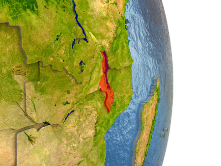 Malawi in red with surrounding region. 3D illustration with highly detailed realistic planet surface. Stock Photo